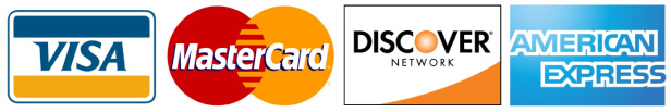Credit Cards Accepted: Visa, Mastercard, Discover, American Express